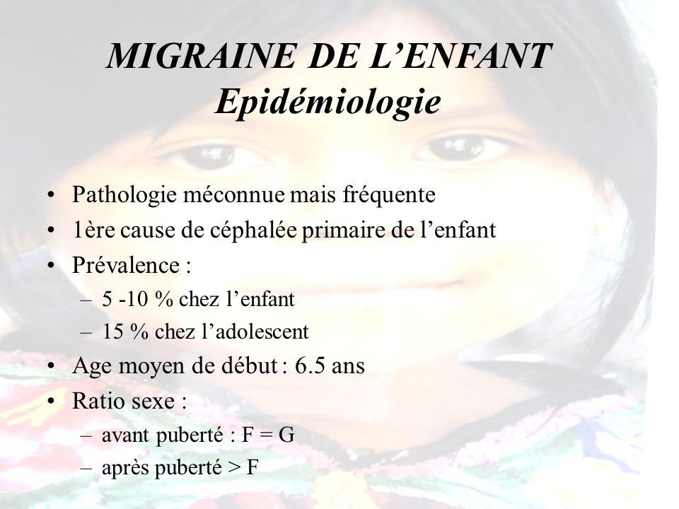 MIGRAINE DE LENFANT Clinique de la céphalée Bilatérale, frontale Sévère : –50 % des enfants pleurent –70 % évoluent la céphalée au niveau maximal (EVA) –96 % ont un retentissement sur leurs activités Pulsatile : – coups de marteau –bruits du cœur