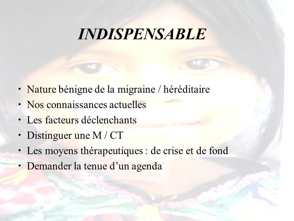 INDISPENSABLE Nature bénigne de la migraine / héréditaire Nos connaissances actuelles Les facteurs déclenchants Distinguer une M / CT Les moyens théra