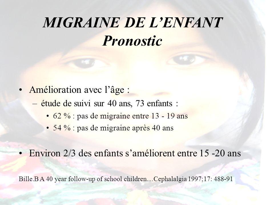 MIGRAINE DE LENFANT Pronostic Amélioration avec lâge : –étude de suivi sur 40 ans, 73 enfants : 62 % : pas de migraine entre 13 - 19 ans 54 % : pas de