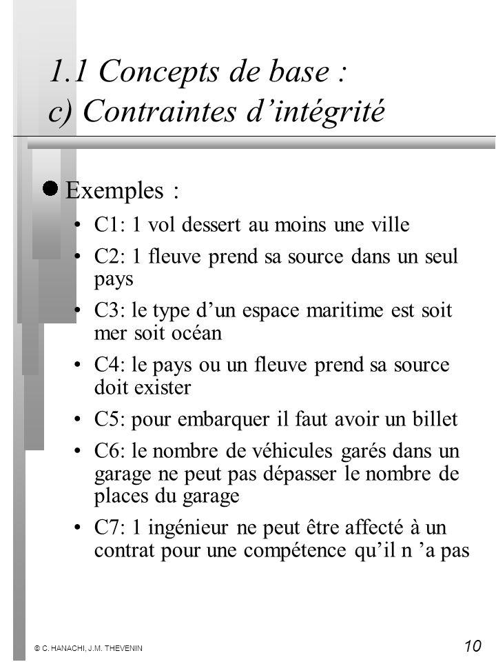 10 © C. HANACHI, J.M. THEVENIN 1.1 Concepts de base : c) Contraintes dintégrité Exemples : C1: 1 vol dessert au moins une ville C2: 1 fleuve prend sa