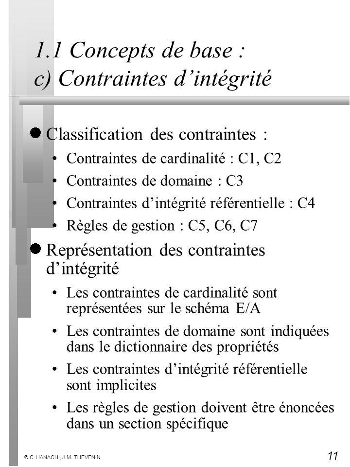 11 © C. HANACHI, J.M. THEVENIN 1.1 Concepts de base : c) Contraintes dintégrité Classification des contraintes : Contraintes de cardinalité : C1, C2 C