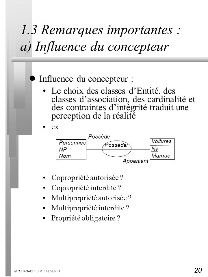 20 © C. HANACHI, J.M. THEVENIN 1.3 Remarques importantes : a) Influence du concepteur Influence du concepteur : Le choix des classes dEntité, des clas