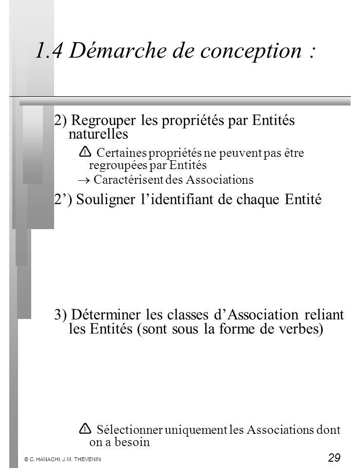 29 © C. HANACHI, J.M. THEVENIN 1.4 Démarche de conception : 2) Regrouper les propriétés par Entités naturelles Certaines propriétés ne peuvent pas êtr