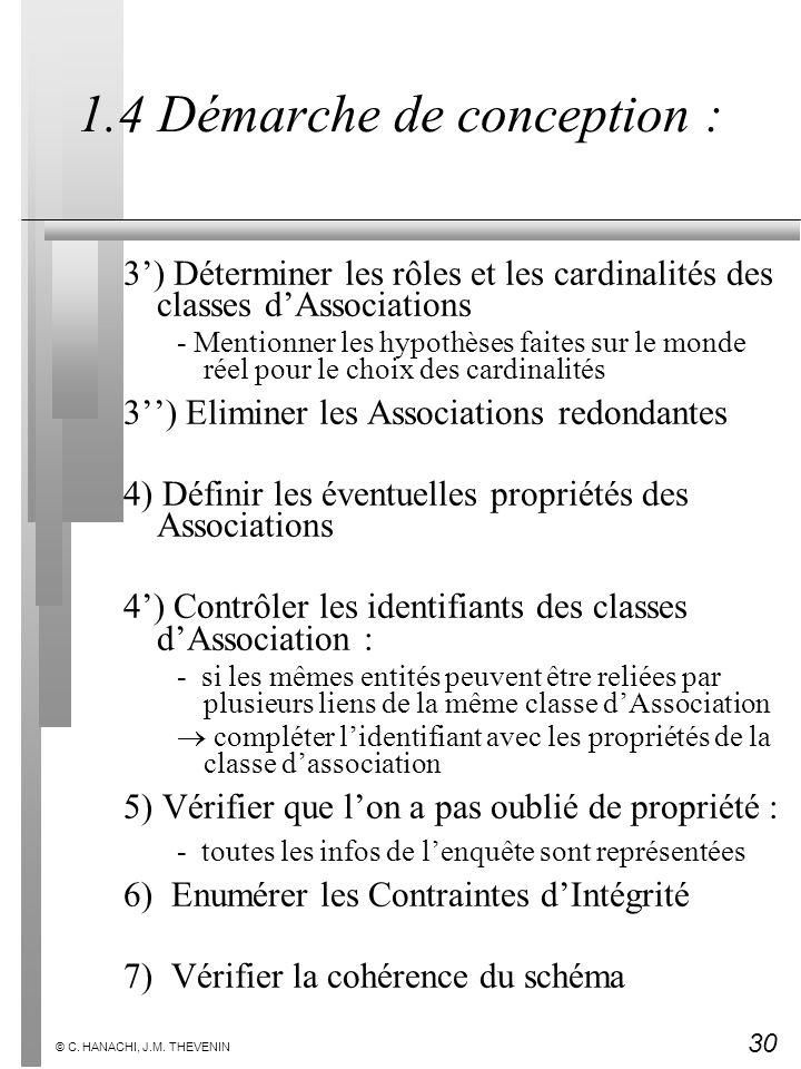 30 © C. HANACHI, J.M. THEVENIN 1.4 Démarche de conception : 3) Déterminer les rôles et les cardinalités des classes dAssociations - Mentionner les hyp