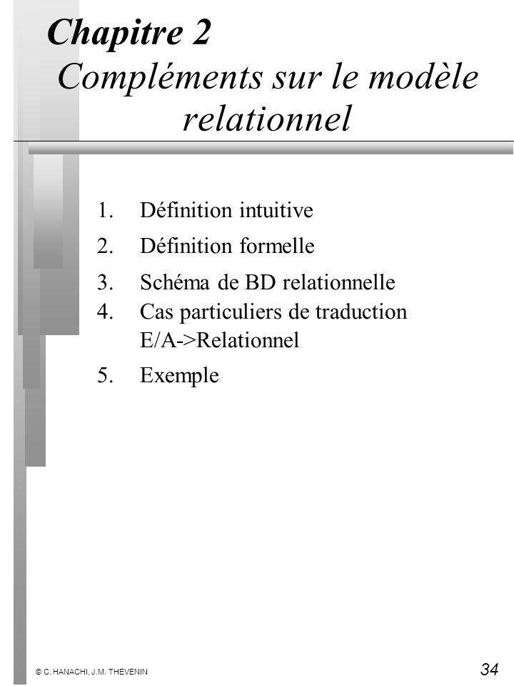 34 © C. HANACHI, J.M. THEVENIN Chapitre 2 Compléments sur le modèle relationnel 1.Définition intuitive 2.Définition formelle 3.Schéma de BD relationne