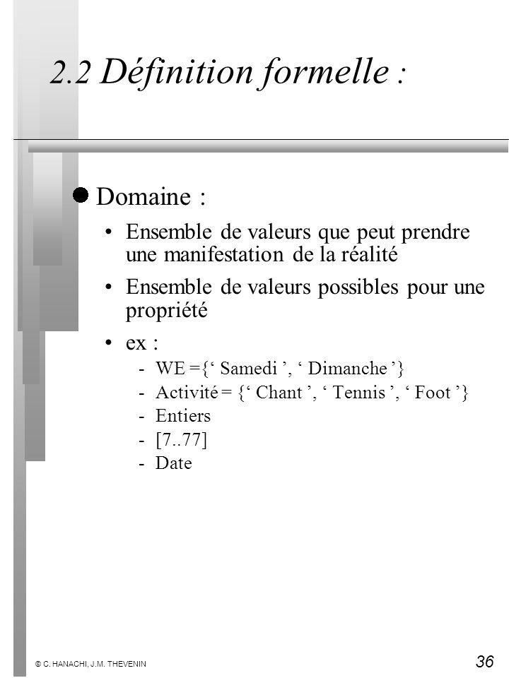 36 © C. HANACHI, J.M. THEVENIN 2.2 Définition formelle : Domaine : Ensemble de valeurs que peut prendre une manifestation de la réalité Ensemble de va