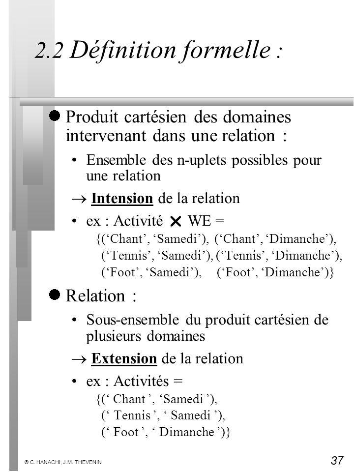 37 © C. HANACHI, J.M. THEVENIN 2.2 Définition formelle : Produit cartésien des domaines intervenant dans une relation : Ensemble des n-uplets possible
