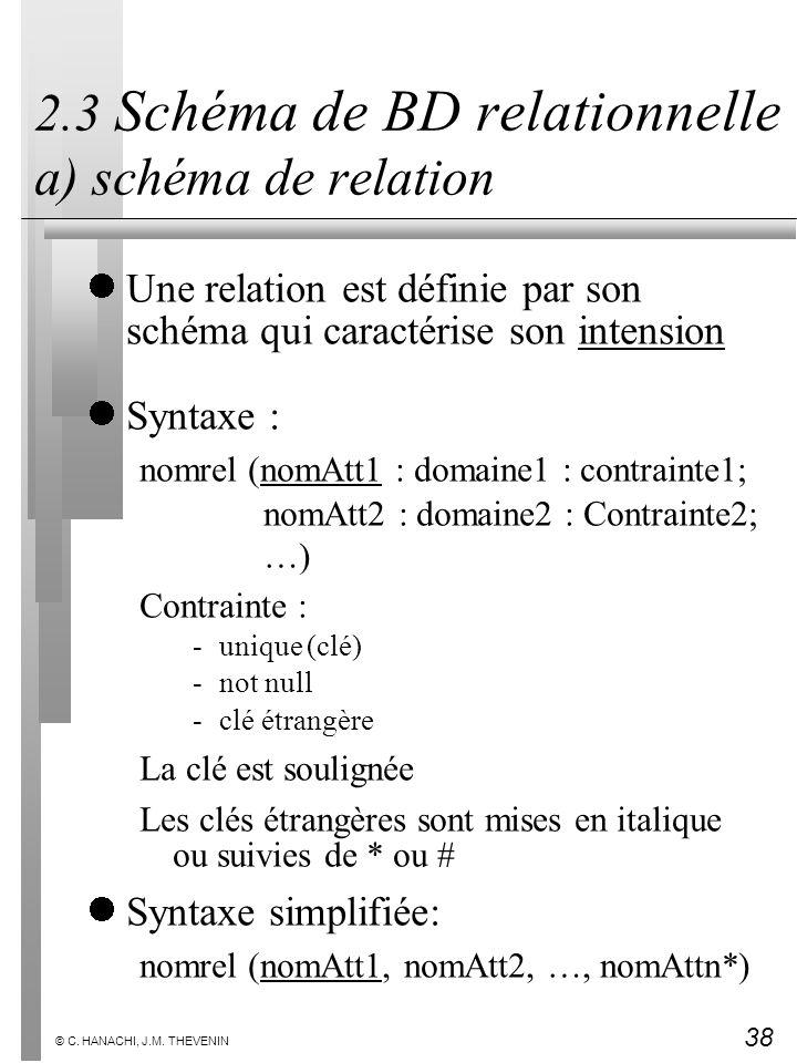 38 © C. HANACHI, J.M. THEVENIN 2.3 Schéma de BD relationnelle a) schéma de relation Une relation est définie par son schéma qui caractérise son intens