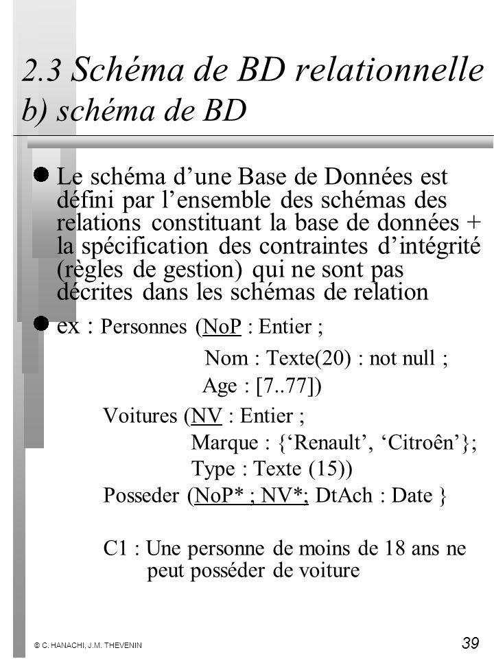 39 © C. HANACHI, J.M. THEVENIN 2.3 Schéma de BD relationnelle b) schéma de BD Le schéma dune Base de Données est défini par lensemble des schémas des