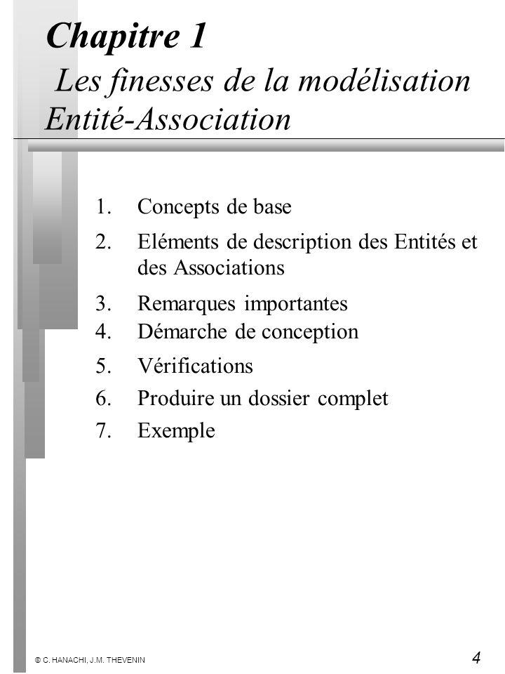 4 © C. HANACHI, J.M. THEVENIN Chapitre 1 Les finesses de la modélisation Entité-Association 1.Concepts de base 2.Eléments de description des Entités e