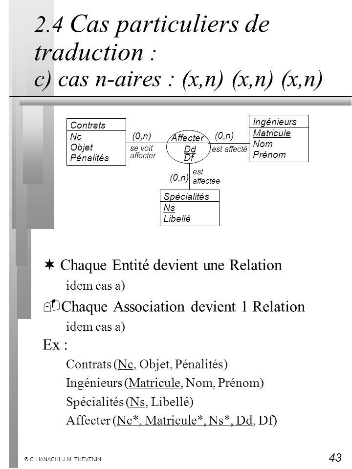 43 © C. HANACHI, J.M. THEVENIN 2.4 Cas particuliers de traduction : c) cas n-aires : (x,n) (x,n) (x,n) ¬Chaque Entité devient une Relation idem cas a)