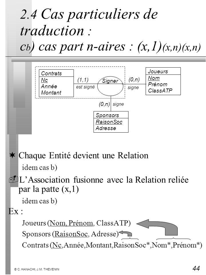 44 © C. HANACHI, J.M. THEVENIN 2.4 Cas particuliers de traduction : c b ) cas part n-aires : (x,1) (x,n)(x,n) ¬Chaque Entité devient une Relation idem