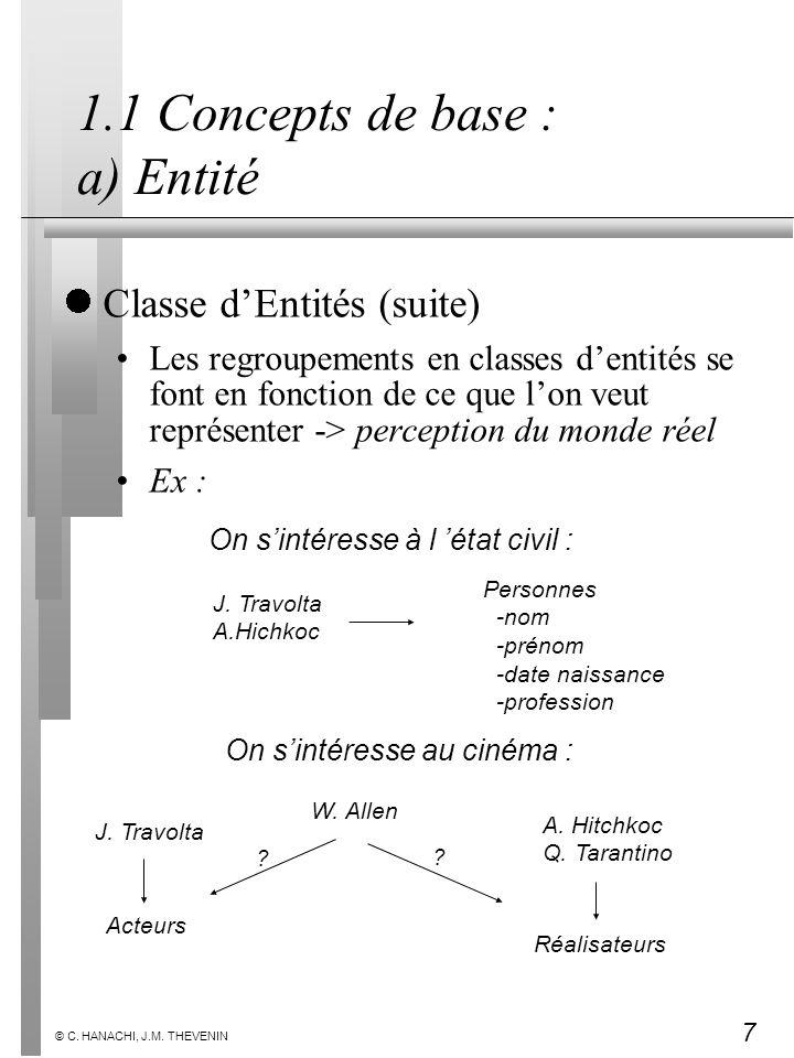 7 © C. HANACHI, J.M. THEVENIN 1.1 Concepts de base : a) Entité Classe dEntités (suite) Les regroupements en classes dentités se font en fonction de ce
