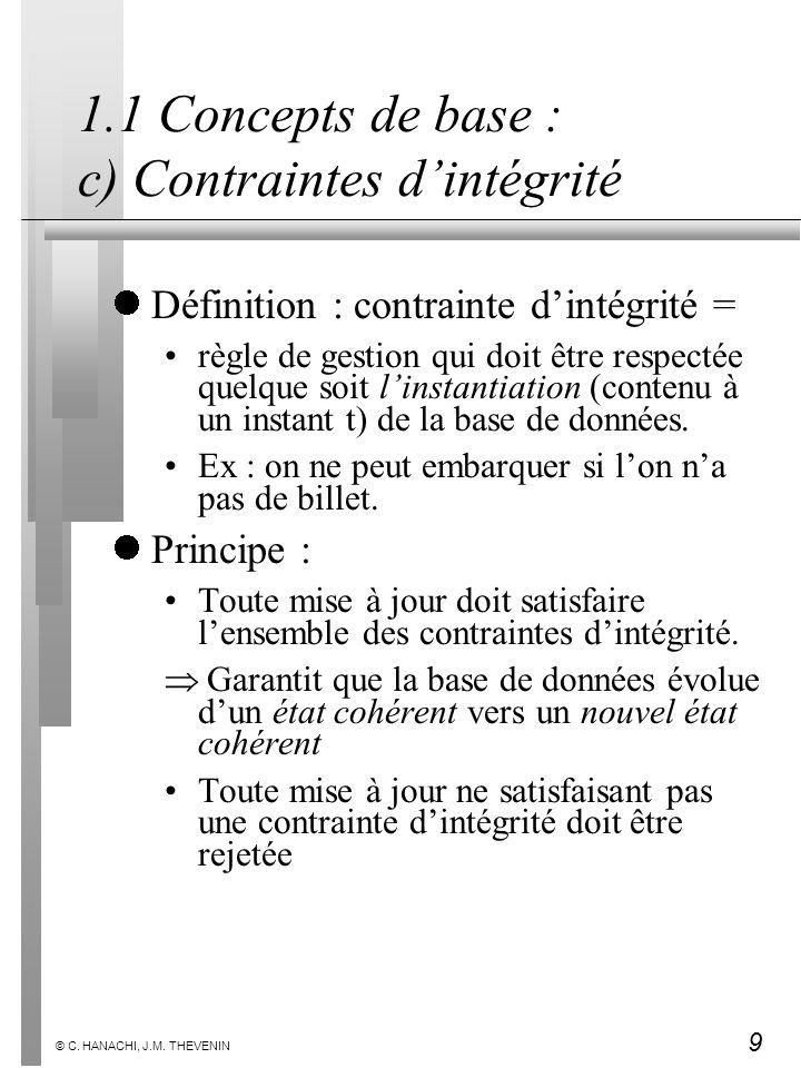 9 © C. HANACHI, J.M. THEVENIN 1.1 Concepts de base : c) Contraintes dintégrité Définition : contrainte dintégrité = règle de gestion qui doit être res
