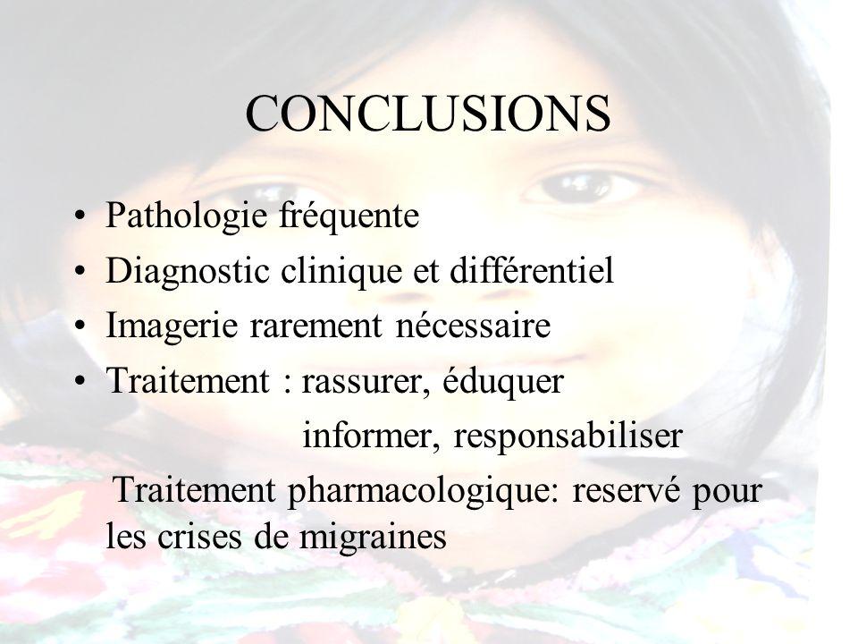 CONCLUSIONS Pathologie fréquente Diagnostic clinique et différentiel Imagerie rarement nécessaire Traitement : rassurer, éduquer informer, responsabil