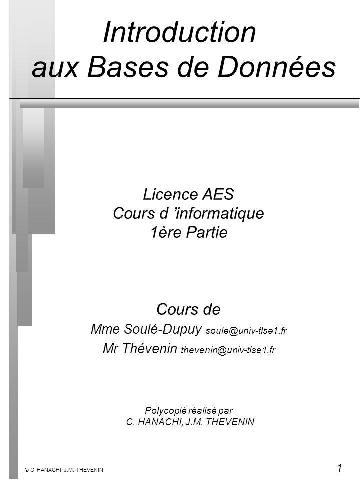 1 © C. HANACHI, J.M. THEVENIN Licence AES Cours d informatique 1ère Partie Cours de Mme Soulé-Dupuy soule@univ-tlse1.fr Mr Thévenin thevenin@univ-tlse