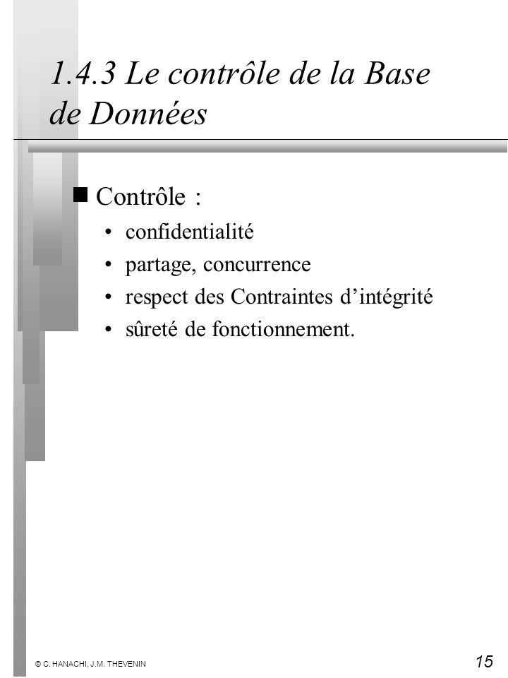 15 © C. HANACHI, J.M. THEVENIN 1.4.3 Le contrôle de la Base de Données Contrôle : confidentialité partage, concurrence respect des Contraintes dintégr