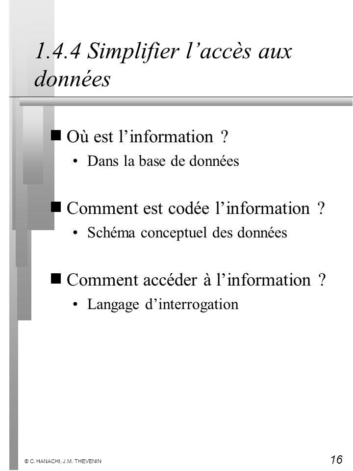 16 © C. HANACHI, J.M. THEVENIN 1.4.4 Simplifier laccès aux données Où est linformation ? Dans la base de données Comment est codée linformation ? Sché