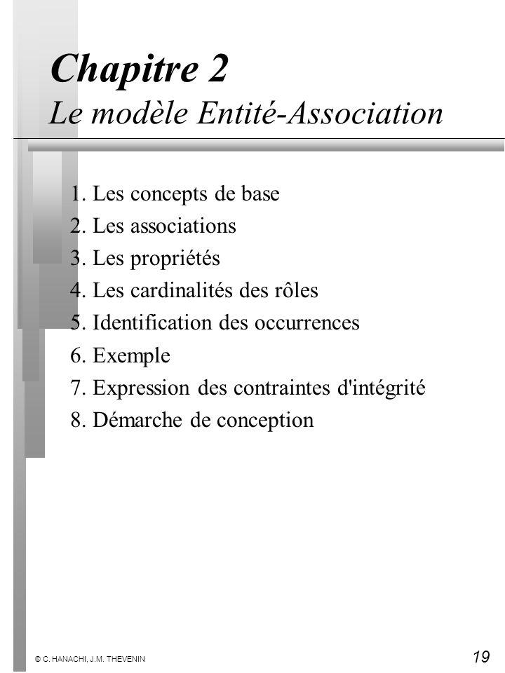 19 © C. HANACHI, J.M. THEVENIN Chapitre 2 Le modèle Entité-Association 1. Les concepts de base 2. Les associations 3. Les propriétés 4. Les cardinalit