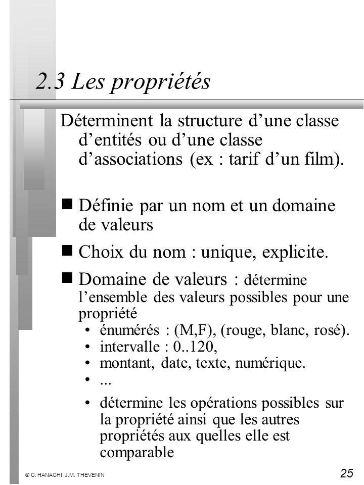 25 © C. HANACHI, J.M. THEVENIN 2.3 Les propriétés Déterminent la structure dune classe dentités ou dune classe dassociations (ex : tarif dun film). Dé
