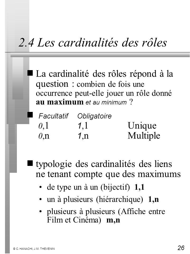 26 © C. HANACHI, J.M. THEVENIN 2.4 Les cardinalités des rôles La cardinalité des rôles répond à la question : combien de fois une occurrence peut-elle
