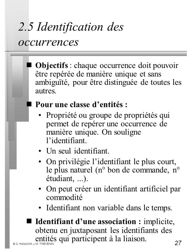 27 © C. HANACHI, J.M. THEVENIN 2.5 Identification des occurrences Objectifs : chaque occurrence doit pouvoir être repérée de manière unique et sans am