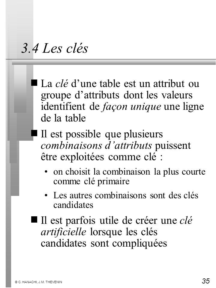35 © C. HANACHI, J.M. THEVENIN 3.4 Les clés La clé dune table est un attribut ou groupe dattributs dont les valeurs identifient de façon unique une li
