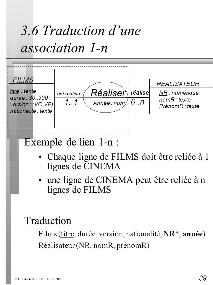 39 © C. HANACHI, J.M. THEVENIN 3.6 Traduction dune association 1-n Exemple de lien 1-n : Chaque ligne de FILMS doit être reliée à 1 lignes de CINEMA u