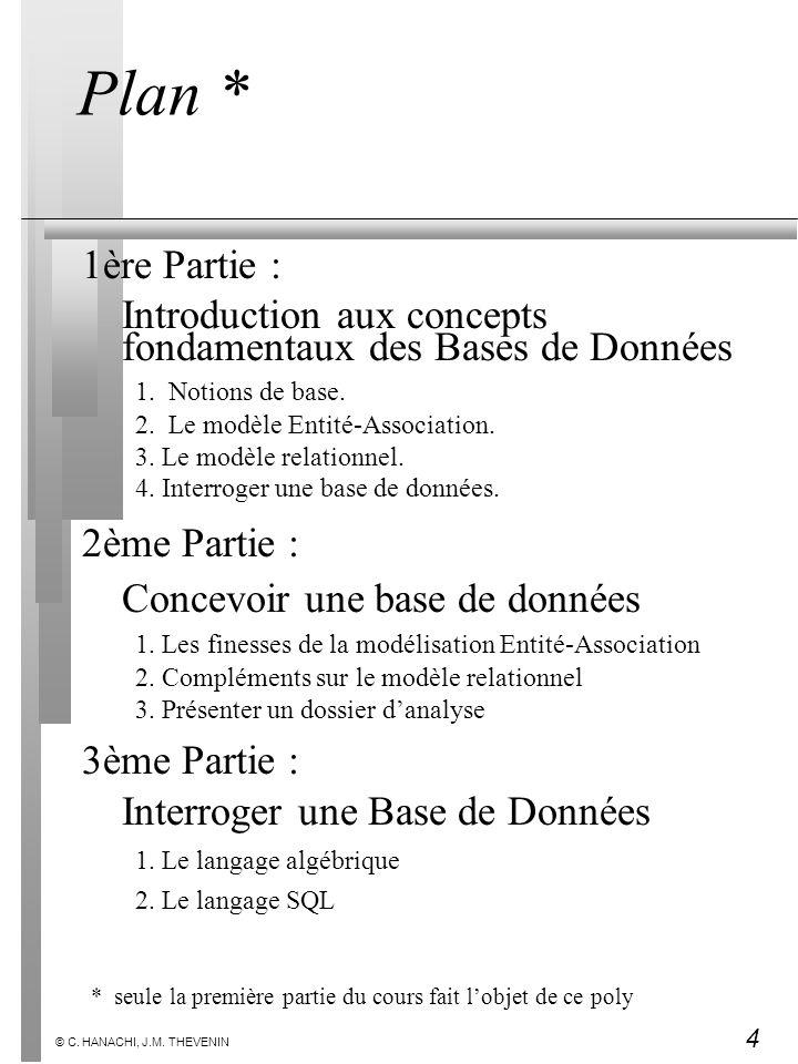4 © C. HANACHI, J.M. THEVENIN Plan * 1ère Partie : Introduction aux concepts fondamentaux des Bases de Données 1.Notions de base. 2.Le modèle Entité-A