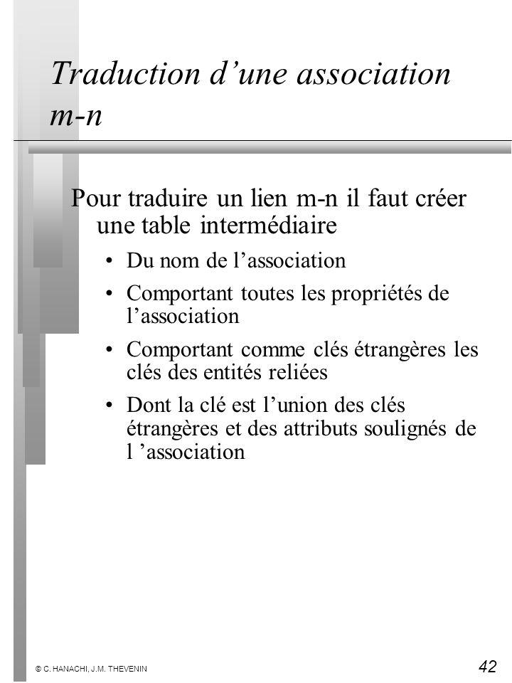 42 © C. HANACHI, J.M. THEVENIN Traduction dune association m-n Pour traduire un lien m-n il faut créer une table intermédiaire Du nom de lassociation