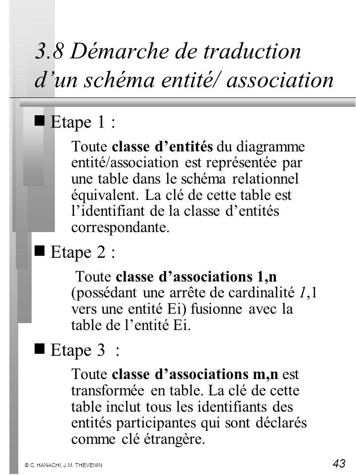 43 © C. HANACHI, J.M. THEVENIN 3.8 Démarche de traduction dun schéma entité/ association Etape 1 : Toute classe dentités du diagramme entité/associati