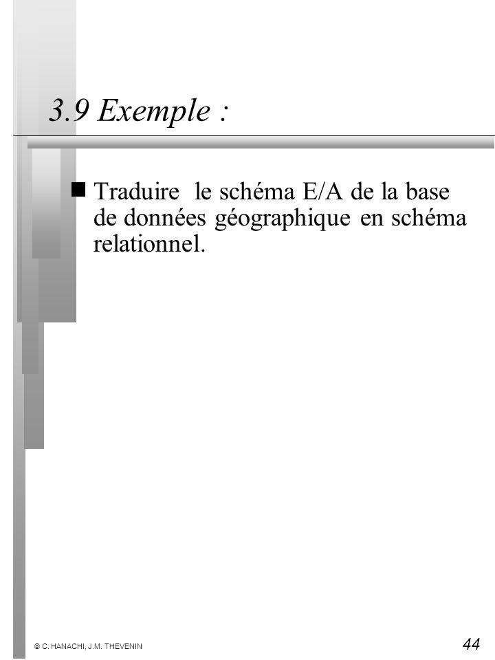 44 © C. HANACHI, J.M. THEVENIN 3.9 Exemple : Traduire le schéma E/A de la base de données géographique en schéma relationnel.