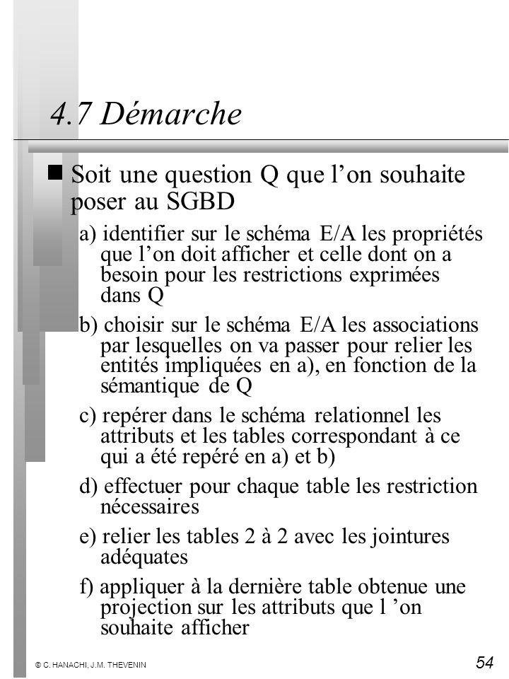 54 © C. HANACHI, J.M. THEVENIN 4.7 Démarche Soit une question Q que lon souhaite poser au SGBD a) identifier sur le schéma E/A les propriétés que lon