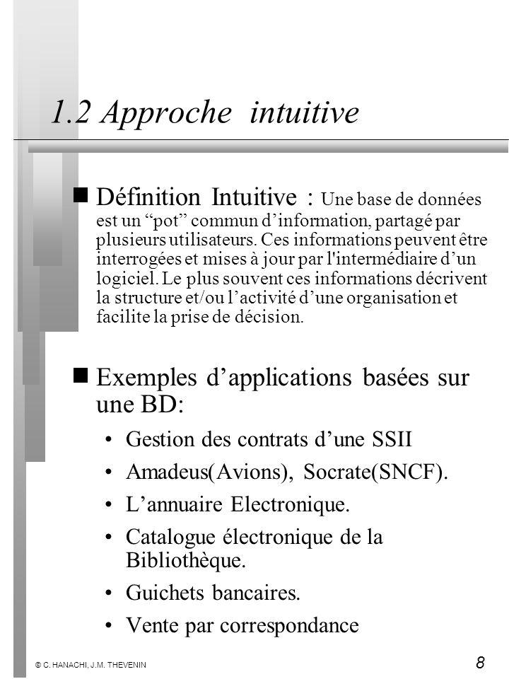 8 © C. HANACHI, J.M. THEVENIN 1.2 Approche intuitive Définition Intuitive : Une base de données est un pot commun dinformation, partagé par plusieurs