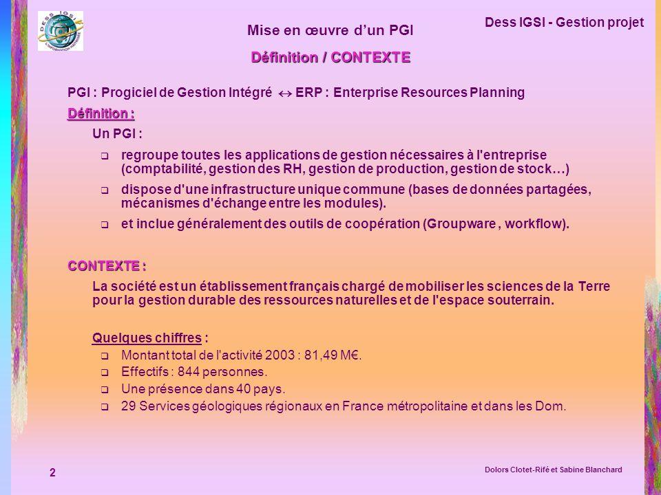 2 Dess IGSI - Gestion projet Dolors Clotet-Rifé et Sabine Blanchard Mise en œuvre dun PGI Définition / CONTEXTE PGI : Progiciel de Gestion Intégré ERP