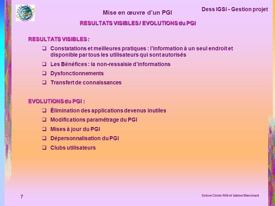 7 Dess IGSI - Gestion projet Dolors Clotet-Rifé et Sabine Blanchard Mise en œuvre dun PGI RESULTATS VISIBLES / EVOLUTIONS du PGI RESULTATS VISIBLES :