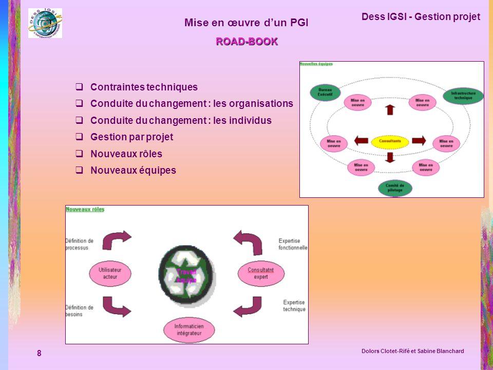 8 Dess IGSI - Gestion projet Dolors Clotet-Rifé et Sabine Blanchard Mise en œuvre dun PGI ROAD-BOOK Contraintes techniques Conduite du changement : le