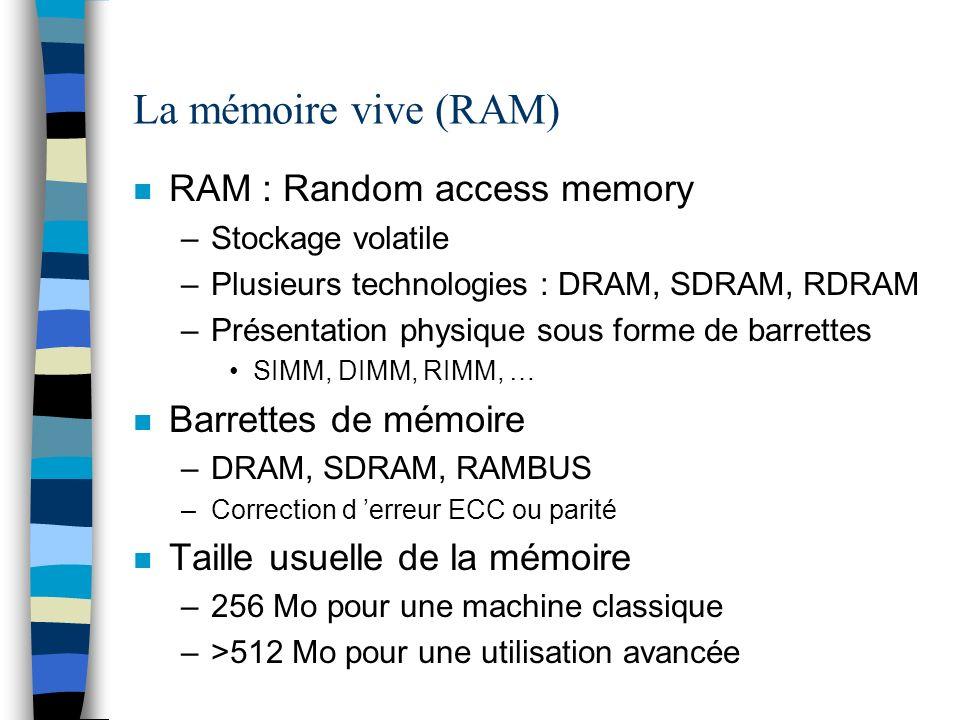 La mémoire vive (RAM) n RAM : Random access memory –Stockage volatile –Plusieurs technologies : DRAM, SDRAM, RDRAM –Présentation physique sous forme de barrettes SIMM, DIMM, RIMM, … n Barrettes de mémoire –DRAM, SDRAM, RAMBUS –Correction d erreur ECC ou parité n Taille usuelle de la mémoire –256 Mo pour une machine classique –>512 Mo pour une utilisation avancée