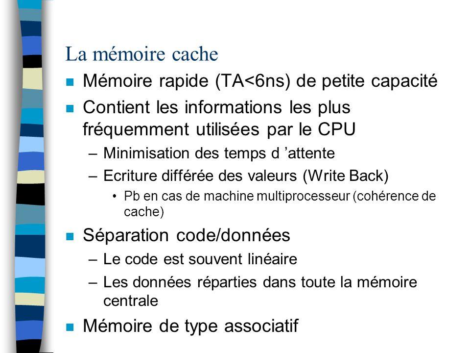 La mémoire cache n Mémoire rapide (TA<6ns) de petite capacité n Contient les informations les plus fréquemment utilisées par le CPU –Minimisation des temps d attente –Ecriture différée des valeurs (Write Back) Pb en cas de machine multiprocesseur (cohérence de cache) n Séparation code/données –Le code est souvent linéaire –Les données réparties dans toute la mémoire centrale n Mémoire de type associatif