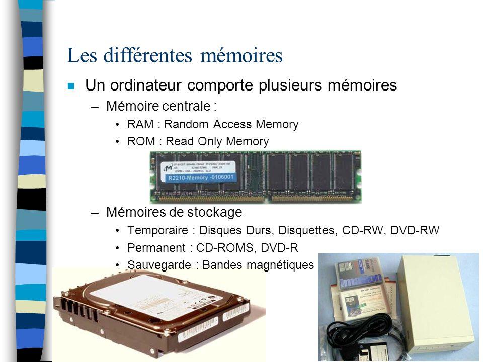 Les différentes mémoires n Un ordinateur comporte plusieurs mémoires –Mémoire centrale : RAM : Random Access Memory ROM : Read Only Memory –Mémoires de stockage Temporaire : Disques Durs, Disquettes, CD-RW, DVD-RW Permanent : CD-ROMS, DVD-R Sauvegarde : Bandes magnétiques