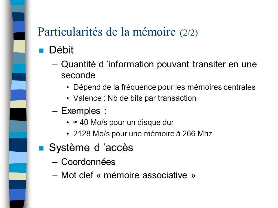 La mémoire centrale n Mémoire contenant programmes et données utilisables pour les traitements UAL Mémoire Données & Programmes Unité de commande