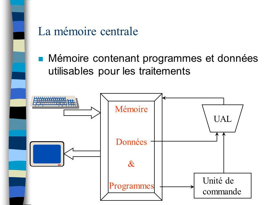 Les unités de mesure de la mémoire centrale n La mémoire est un tableau d octets –informations sur une, deux, quatre, huit cases selon les cas Ex : entiers sur 32 bits -> 4 cases mémoire pour un nombre n La mémoire centrale se mesure en mégaoctets (parfois en gigaoctets)