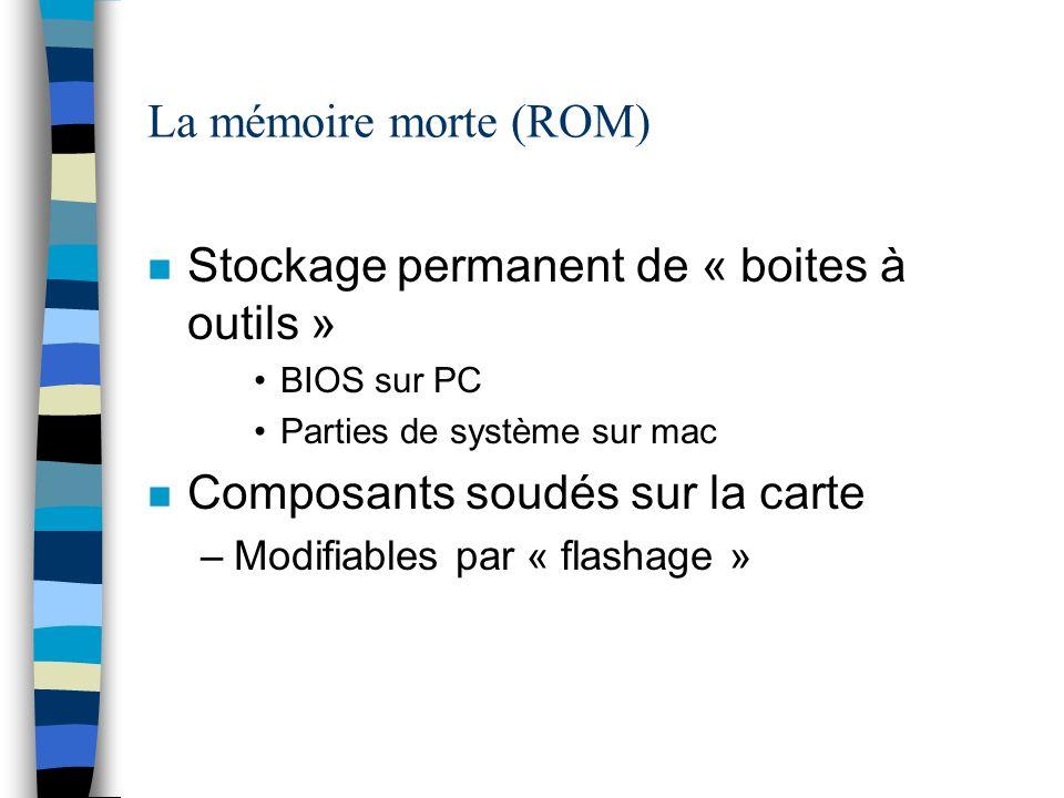 La mémoire morte (ROM) n Stockage permanent de « boites à outils » BIOS sur PC Parties de système sur mac n Composants soudés sur la carte –Modifiables par « flashage »