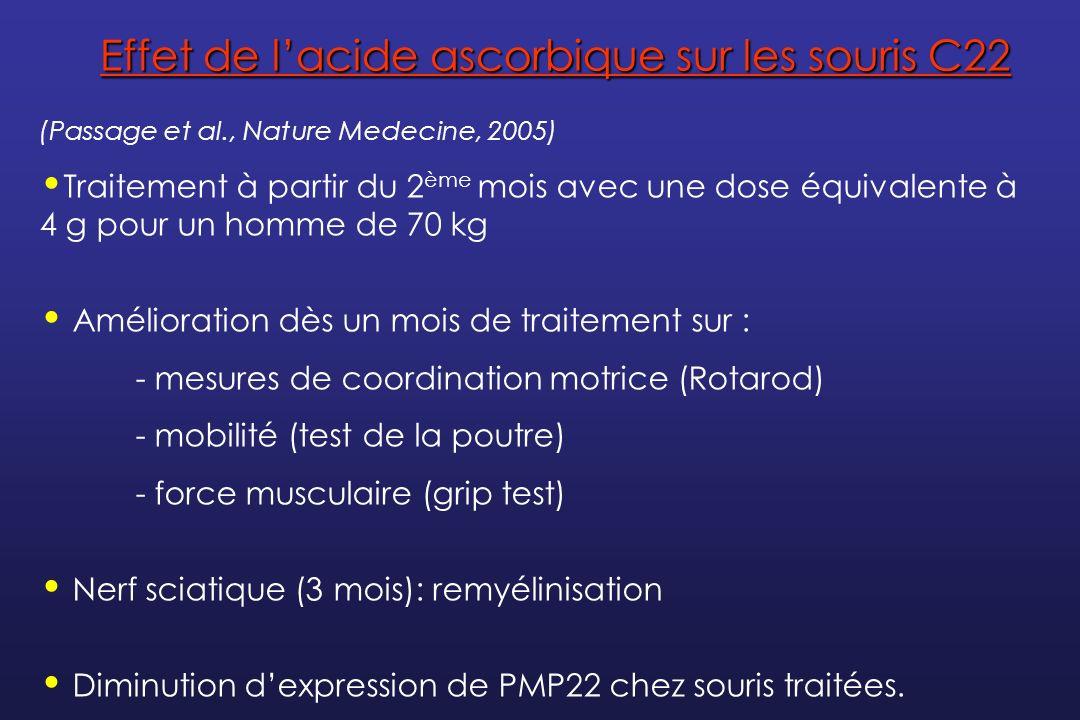 Le premier essai thérapeutique dans la maladie de CMT Objectif : - Etudier les effets de lacide ascorbique sur les symptômes de la maladie de Charcot-Marie-Tooth de type1A Essai clinique de phase III Schéma de létude : - Etude randomisée en double aveugle versus placebo sur 180 patients - Etude nationale multicentrique : Paris – Lyon – Marseille - 3 groupes (60/groupe) : placebo, AA 1g/J, AA 3g/J