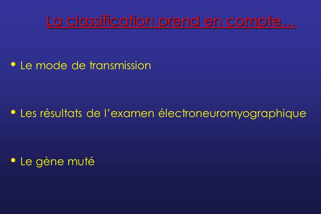 Plusieurs groupes de CMT Mode de transmission ElectrophysiologieDésignationSous-types en fonction du gène muté ADDémyélinisantCMT1A - F ADAxonalCMT2A – L ADIntermédiaireDI-CMTA - C D lié à lXIntermédiaire, axonal ou démyélinisant CMTDX ARDémyélinisantCMT4A - J ARAxonalAR-CMT2A - B
