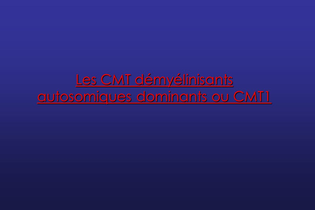 Classification des CMT1 ClassificationGènesPhénotype CMT1ADuplication de la région chromosomique 17p11.2 CMT démyélinisant CMT1APMP22CMT démyélinisant Dejerine-Sottas – Hypomyélinisation congénitale CMT1BMPZ/ P0CMT démyélinisant Dejerine-Sottas – Hypomyélinisation congénitale CMT1CSIMPLECMT démyélinisant CMT axonal CMT1DEGR2CMT démyélinisant Dejerine-Sottas – Hypomyélinisation congénitale CMT1FNF-LCMT axonal CMT démyélinisant