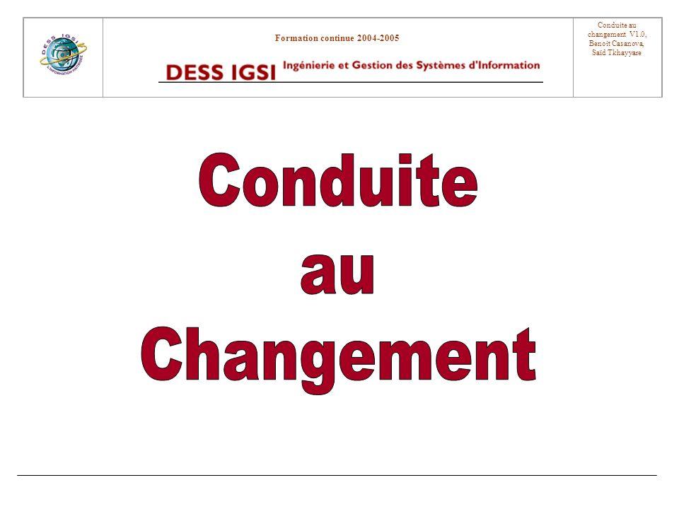 Formation continue 2004-2005 Conduite au changement V1.0, Benoit Casanova, Saïd Tkhayyare Introduction Pourquoi déclenche-t-on des démarches de conduite au changement .