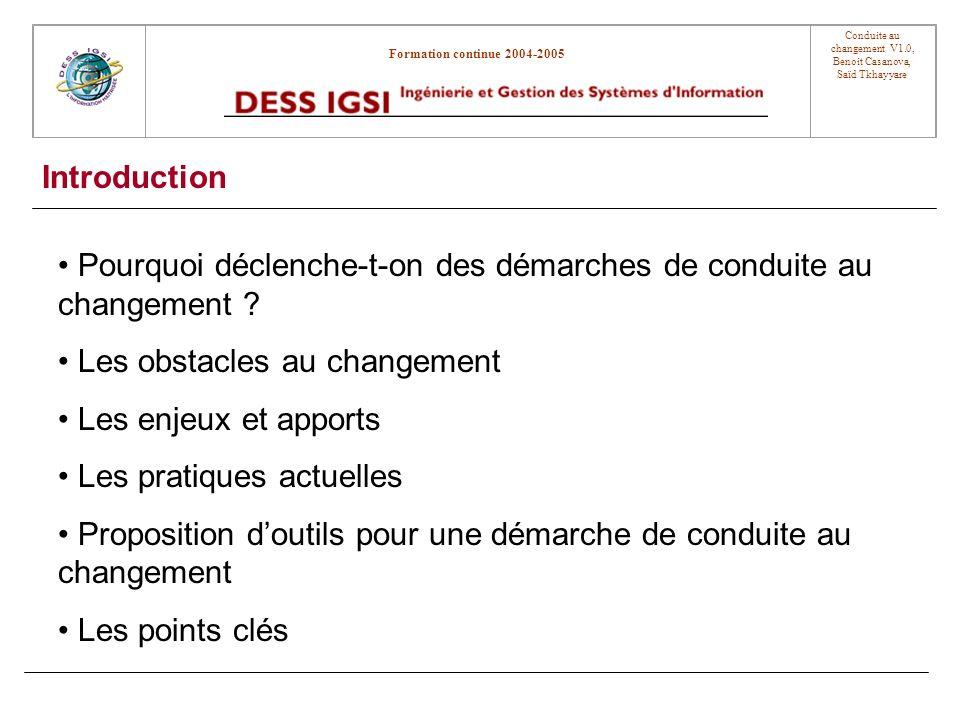 Formation continue 2004-2005 Conduite au changement V1.0, Benoit Casanova, Saïd Tkhayyare Pourquoi déclenche-t-on des démarches de conduite au changement .