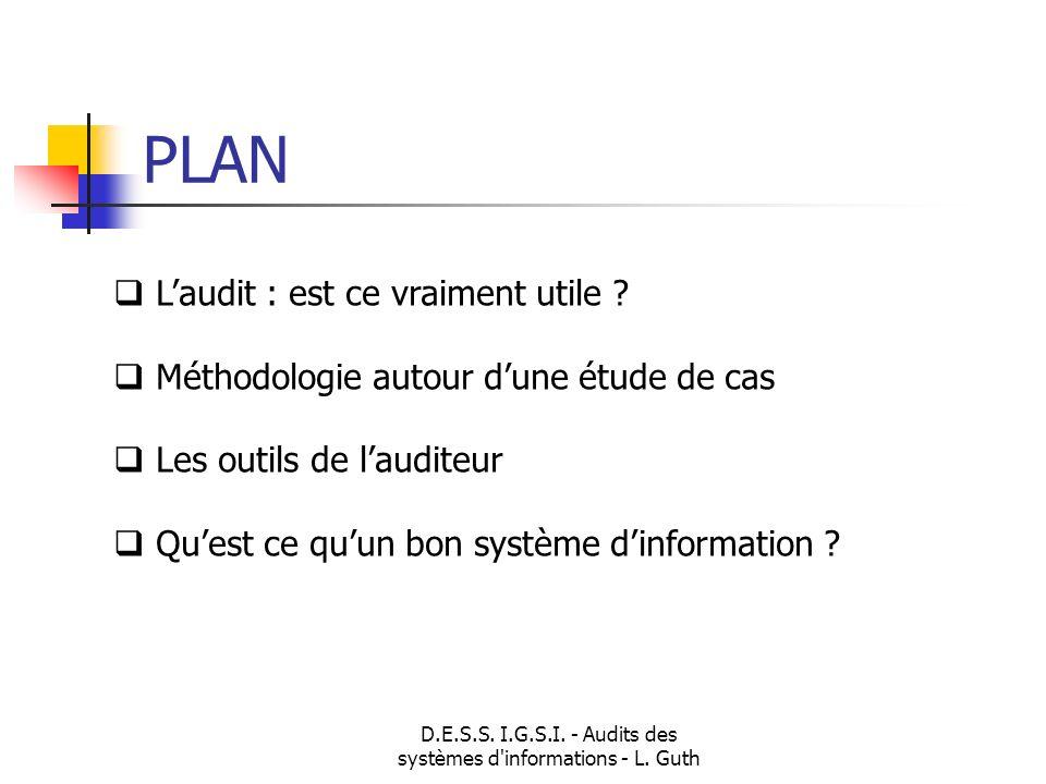 D.E.S.S. I.G.S.I. - Audits des systèmes d'informations - L. Guth Laudit : est ce vraiment utile ? Méthodologie autour dune étude de cas Les outils de