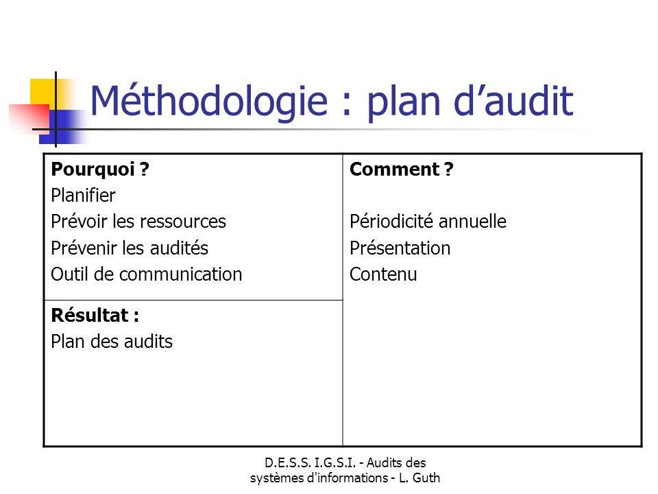 D.E.S.S. I.G.S.I. - Audits des systèmes d'informations - L. Guth Pourquoi ? Planifier Prévoir les ressources Prévenir les audités Outil de communicati